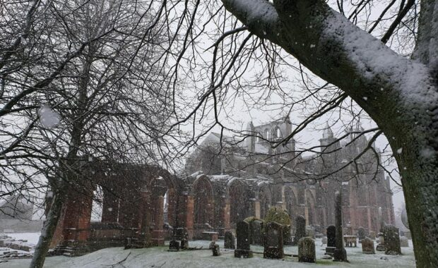 Melrose Abbey in the snow
